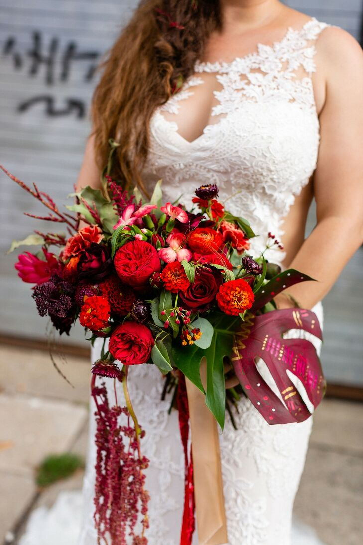 Bouquet with Red Dahlias, Peonies and Banana Leaves
