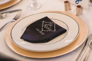 Modern and Personalized Hand-Stitched Black Napkins