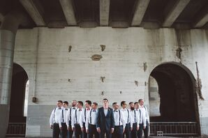 Groomsmen in Classic Black Suspenders