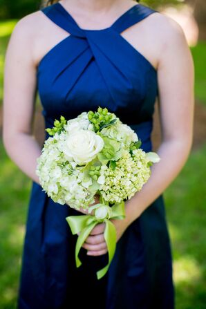 Navy Bridesmaid Dresses With Green and Ivory Bouquet