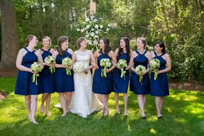David's Bridal Short Navy Bridesmaid Dresses