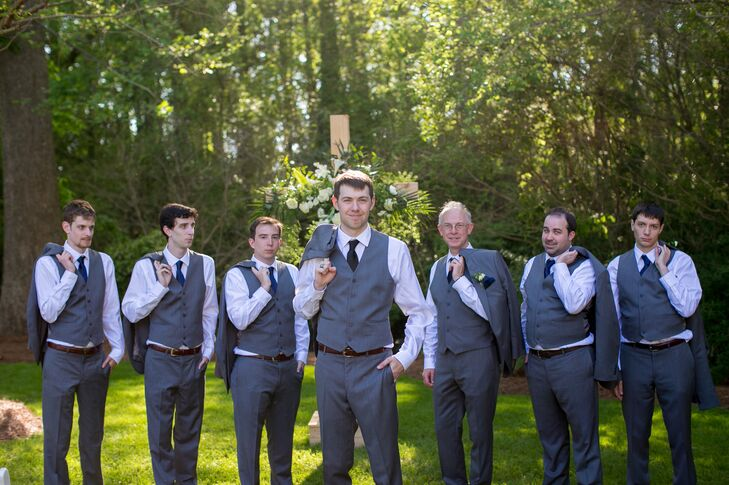 Gray Men's Wearhouse Suits with Navy Ties