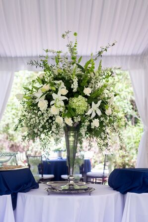 Grand Green and Ivory Arrangement in Antique Vase