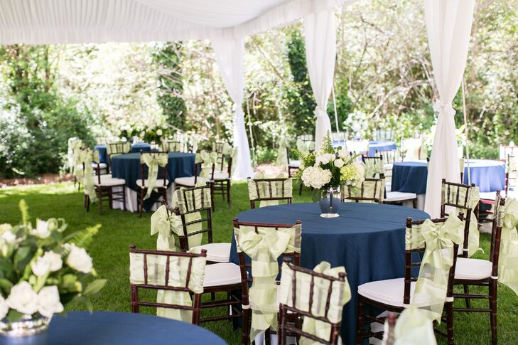 Navy and Green Backyard Tented Afternoon Reception