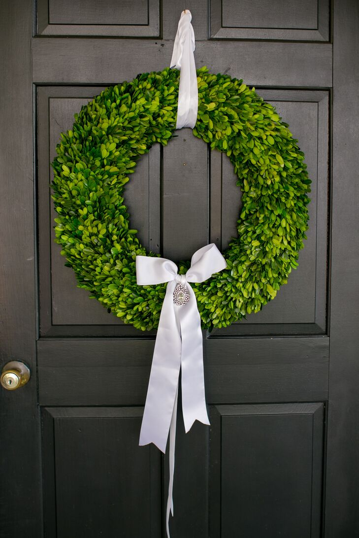Simple Green Wreath and White Silk Ribbon