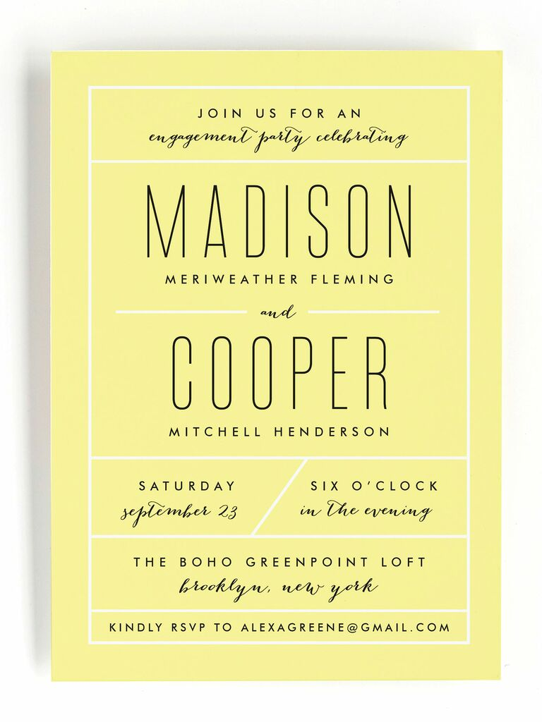 Modern yellow engagement party invitation