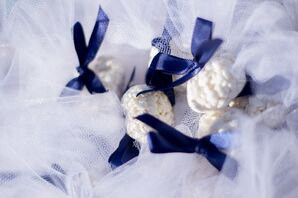 Classic Jordan Almond Favors With Navy Ribbon Accent