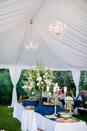 Tented Buffet Dinner With Chandelier Lighting