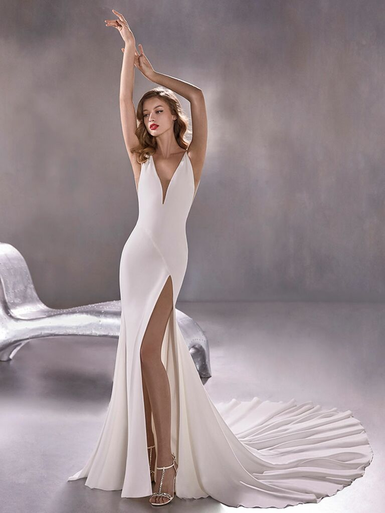 Atelier Provonias wedding dress trumpet dress with plunging neck and side slit