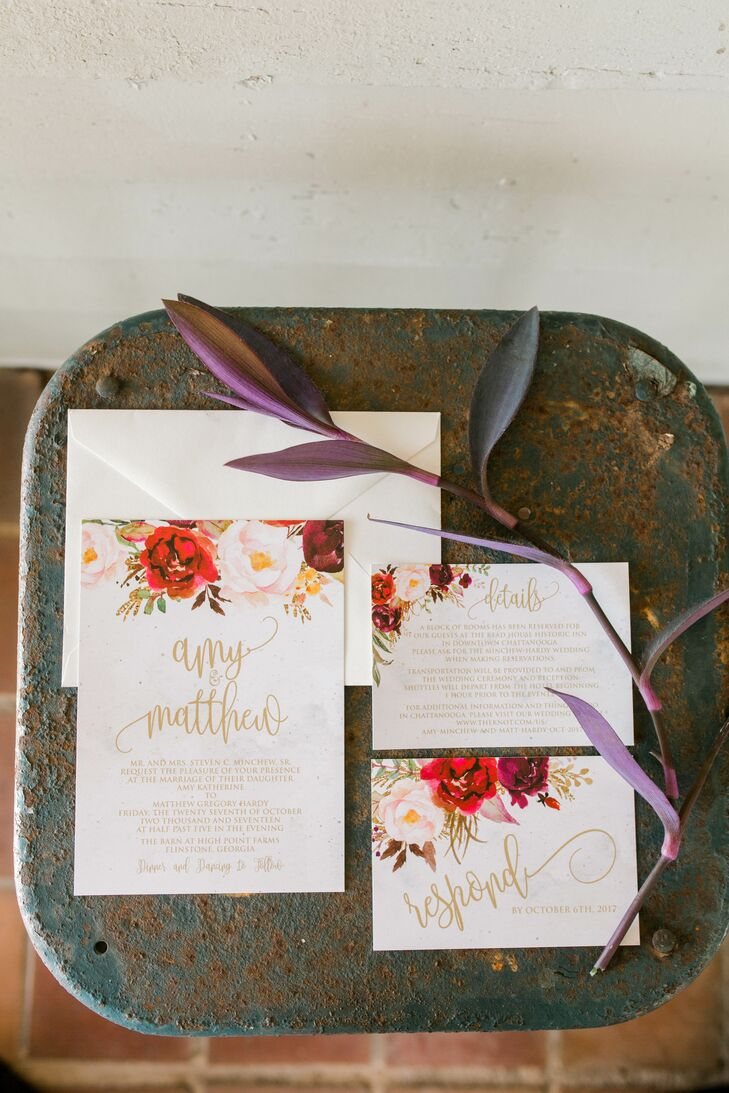 Romantic Invitation Suite with Gold Calligraphy and Botanical Illustrations