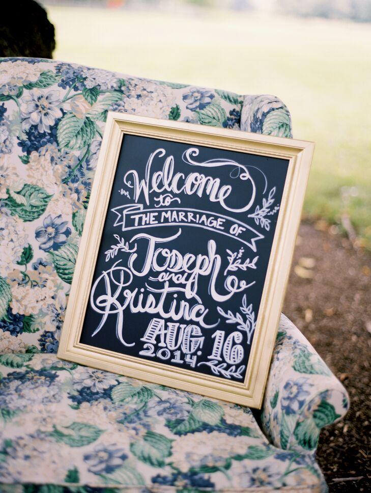 Gold-Framed Chalkboard Welcome Sign