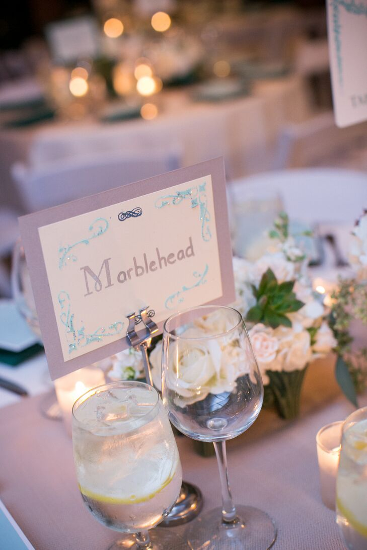In addition to table numbers, Edith and Zachary named each of the tables after a place of special meaning to add a personalized element to the decor.