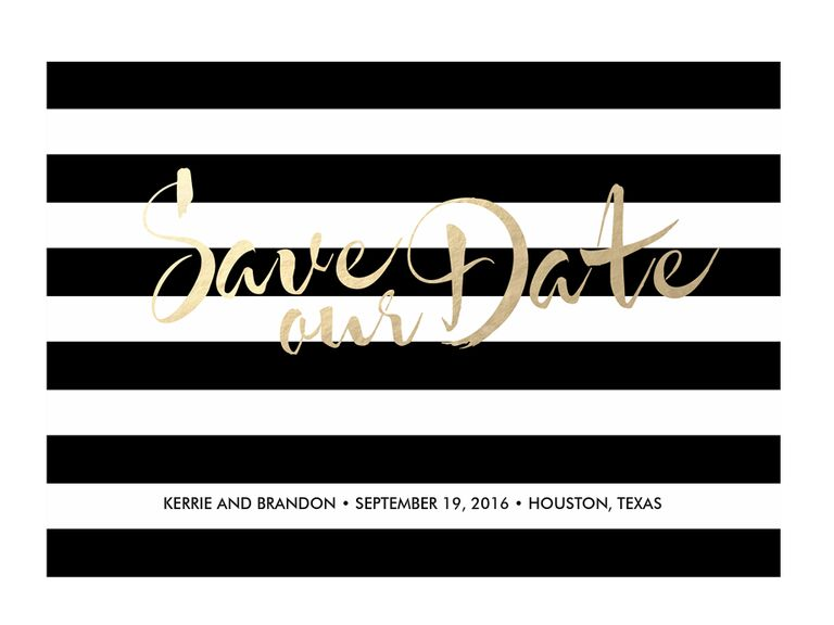 Black-and-white save-the-date design from Greenvelope