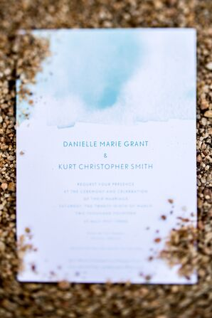 Blue Watercolor Wedding Invitations for Beach Wedding