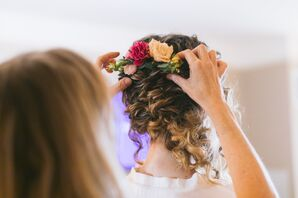 Curly Updo with Flower Hair Accessories