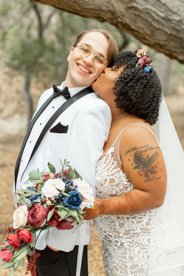 Bride and Groom Share Kiss During Wedding at Riverbed Farms in Anaheim, California