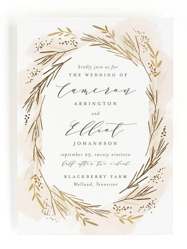 Wheat rustic wedding invitation