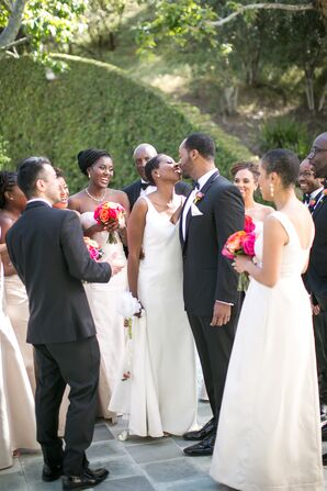 Formal Couple and Bridal Party in Black and White