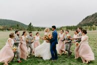 "Chelsea and Alberto Pimienta live in Washington, DC, but they traveled to the bride's hometown of Sandpoint, Idaho, for a rustic wedding. ""Our venue w"