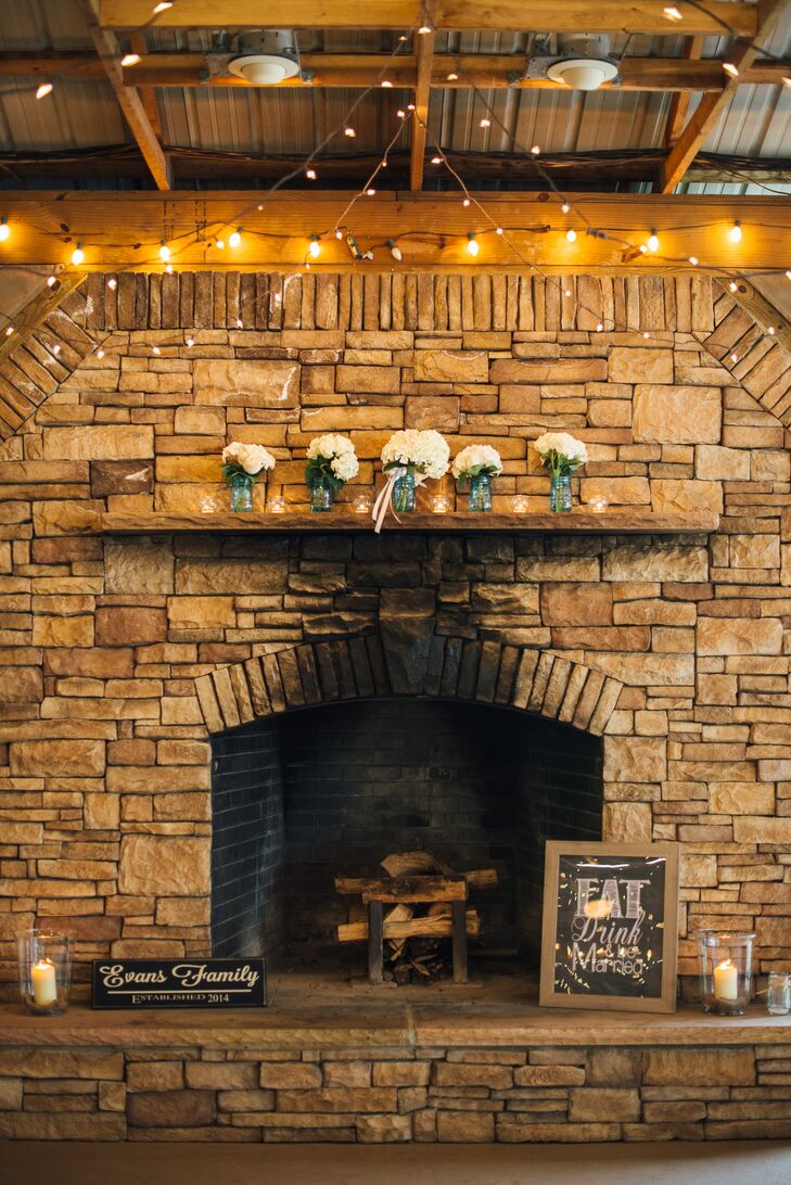 Flower-Filled Stone Fireplace Mantel