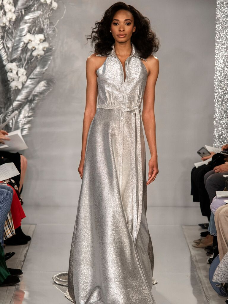 Theia Spring 2020 Bridal Collection silver collared wedding dress