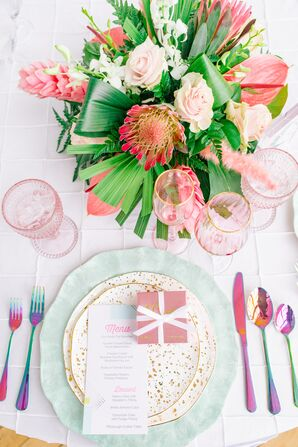 Colorful Place Settings, Rainbow Flatware and Tropical Centerpieces
