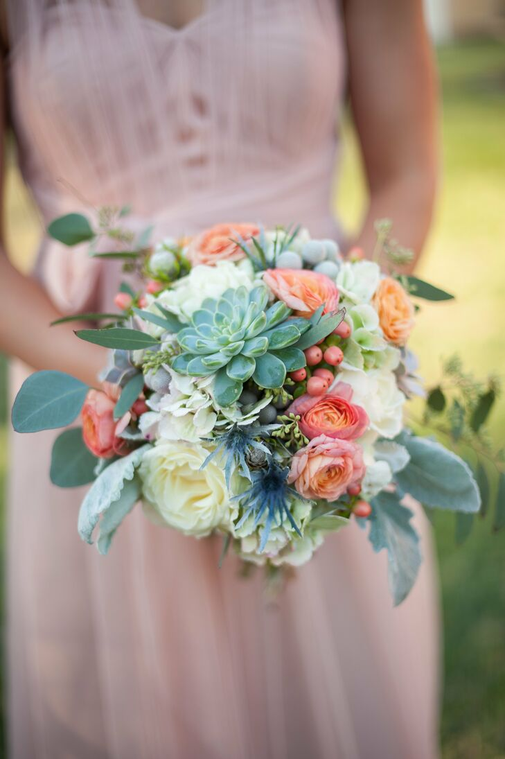 Coral Mint And Ivory Bridesmaid Bouquet
