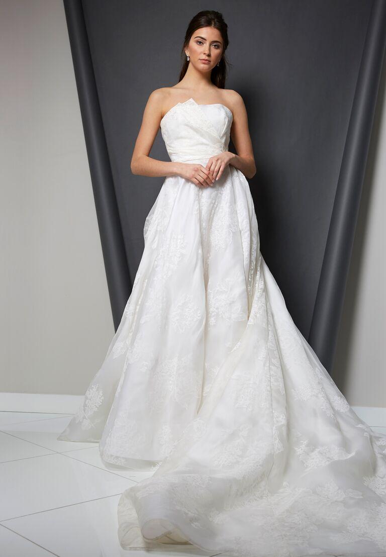 Randi Rahm Spring 2020 Bridal Collection asymmetrical strapless A-line wedding dress