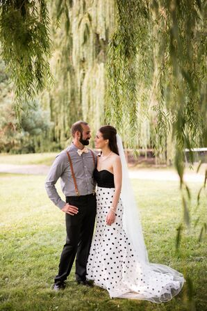 Sherri Hill Strapless Polka Dot Wedding Dress