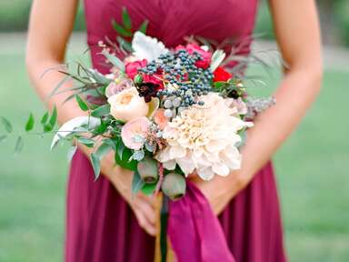 Bridesmaid holding a bouquet