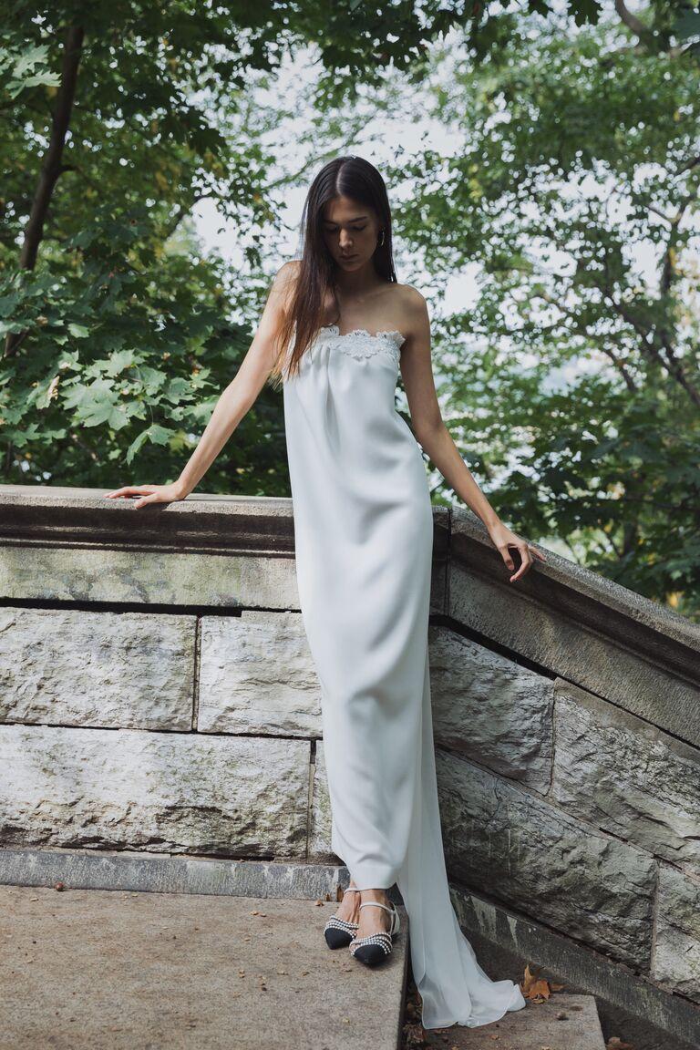 LEIN strapless column dress with lace neckline