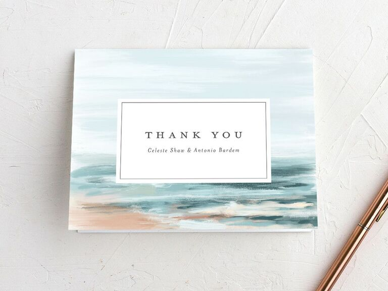 beach themed wedding thank-you card
