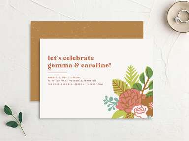 Invitation with autumn hues, brown text and a boquet design