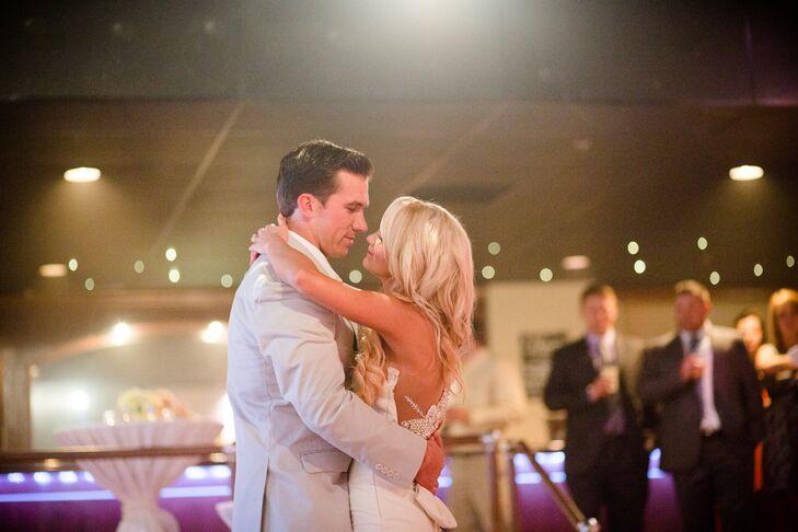 """The newlyweds danced to """"Heaven"""" by DJ Sammy."""