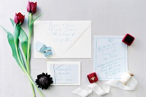 Watercolor and Blue Calligraphed Invitation Suite