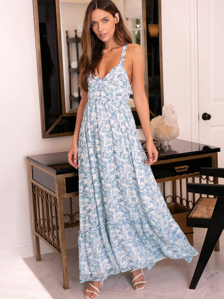 My Love Story White Floral Print Tie-Back Maxi Dress