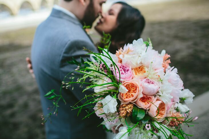 Peach and Pink Garden Rose Bouquet