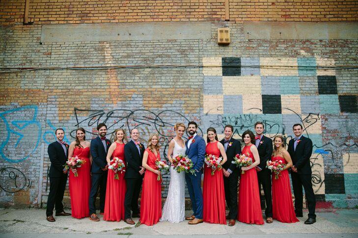 Red, Floor-Length Badgley Mischka Bridesmaid Dresses