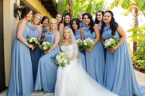 Floor-Length Soft Blue Bridesmaid Dresses