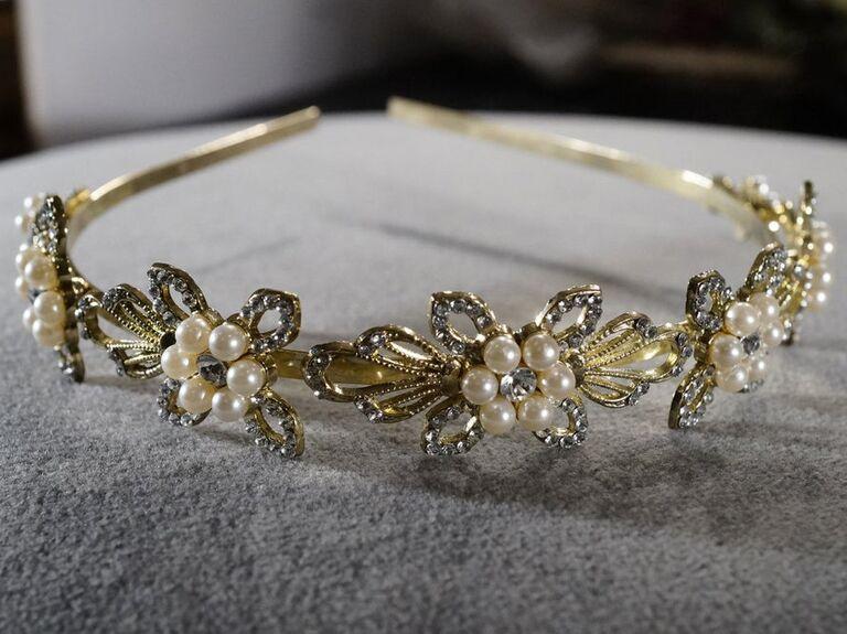 Vintage gold rhinestone headband