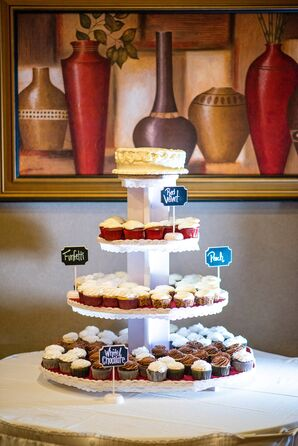 Small White Wedding Cake and Assorted Cupcake Tower
