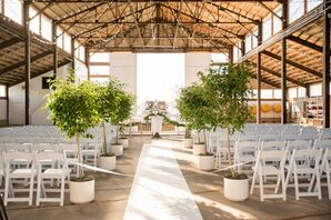 Airy Boathouse Ceremony with Greenery