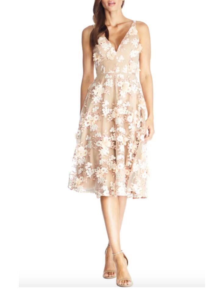 Ivory floral midi dress with 3D flower appliqués
