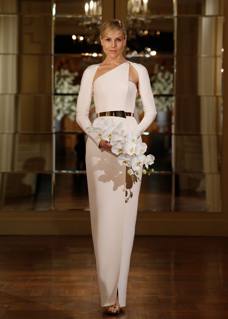 Asymmetric neckline Romona Keveza wedding dress