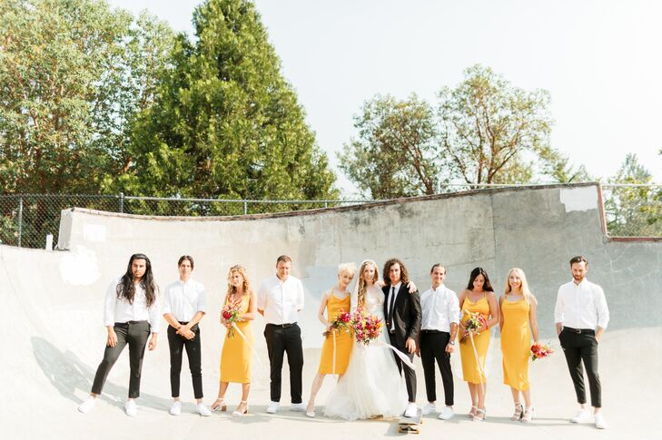 Casual Wedding Party with Yellow Dresses and White Dress Shirts