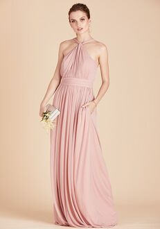 Birdy Grey Kiko Mesh Dress in Rose Quartz Halter Bridesmaid Dress