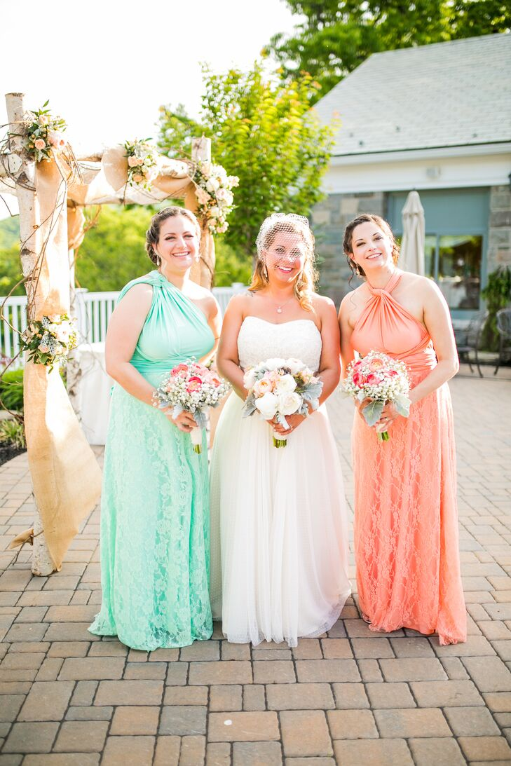 mint green and peach bridesmaid dresses