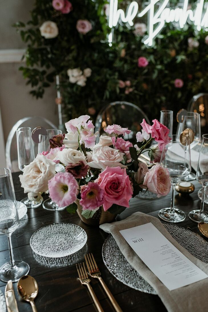 Classic Dining Table and Centerpieces of Pink Roses