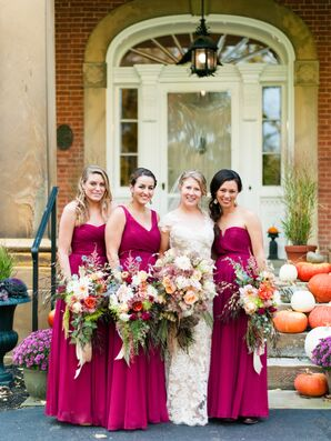 Fuchsia Bridesmaid Dresses, Lush Bouquets