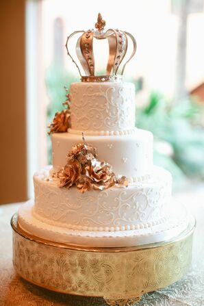 Wedding Cake with Metallic Gold Flowers and Crown